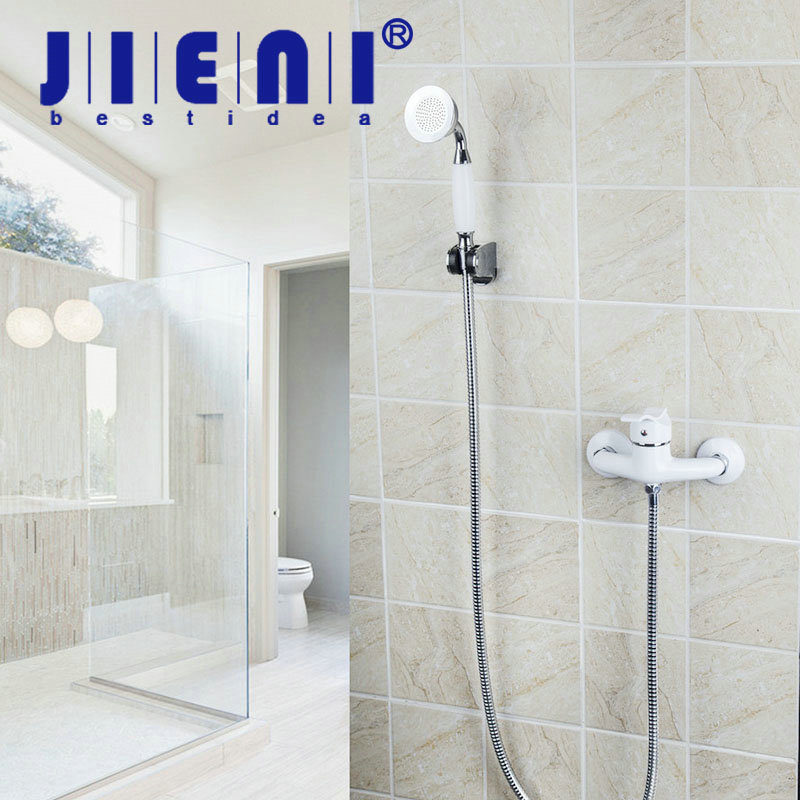 JIENI Bathroom Shower Set Bath Faucet Mixer Tap With Hand Shower Head Shower Faucet Set Wall Mounted shower faucets luxury gold bathroom rainfall shower faucet set mixer tap with hand sprayer wall mounted bath shower head hj 859k