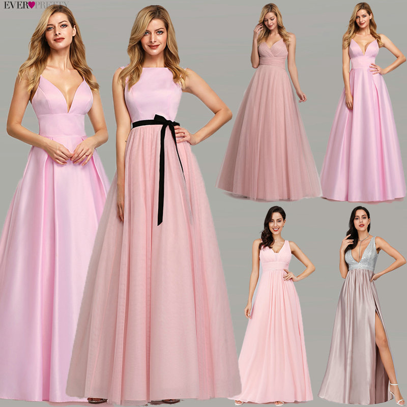 Pink Prom Dresses 2020 Ever Pretty A-Line Sequined Elegant Women Dresses Evening Party Special Occasion Mezuniyet Elbiseleri