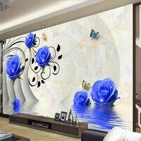 Beibehang Papel De Parede 3d Custom Wallpaper 3D Blue Roses Wall Paintings Papel De Parede Infan