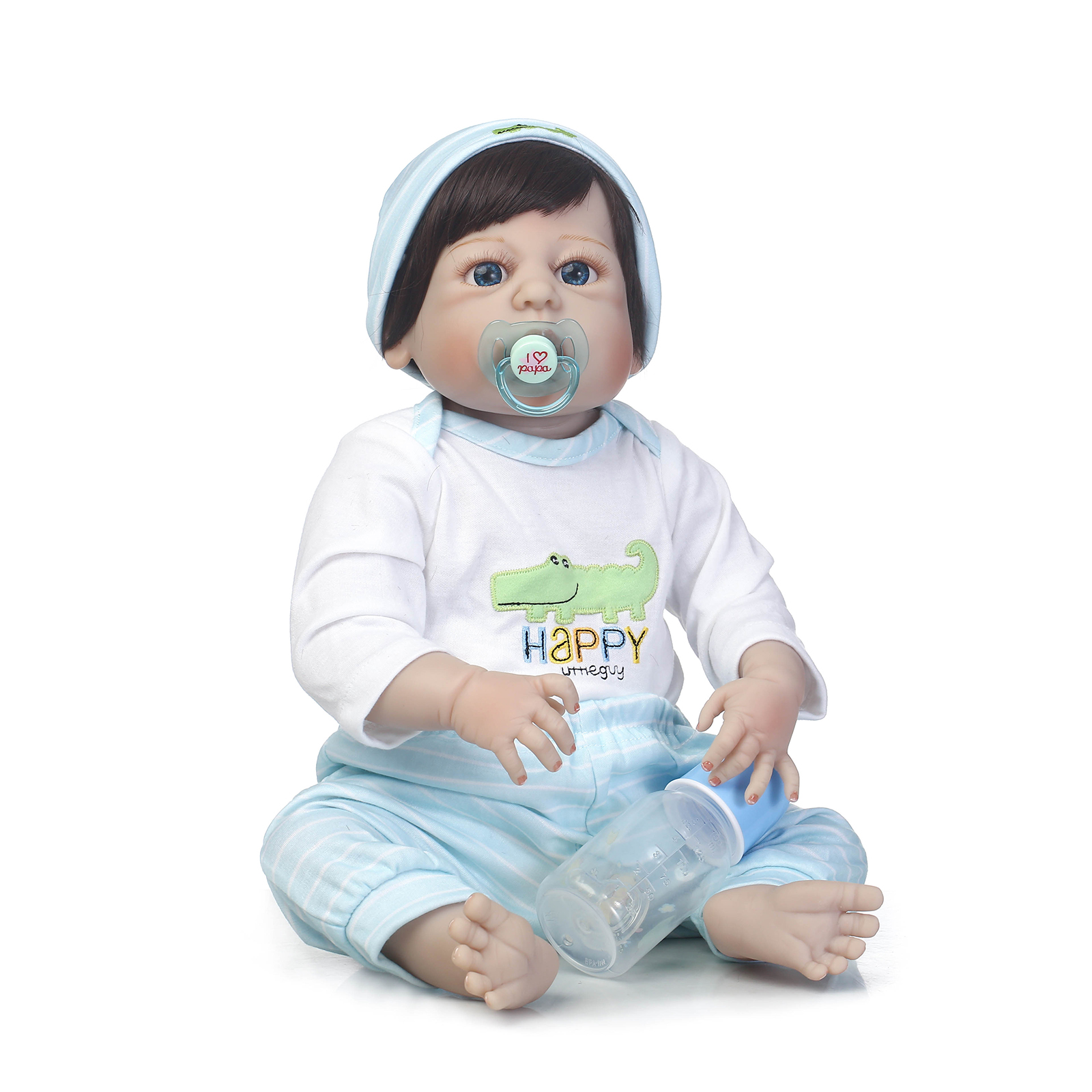 Soft Vinyl Lifelike Fashion Dolls with Cloth Hat Bottle Magic Pacifier 56cm New Baby Reborn Doll For Girl Play House Bath ToySoft Vinyl Lifelike Fashion Dolls with Cloth Hat Bottle Magic Pacifier 56cm New Baby Reborn Doll For Girl Play House Bath Toy