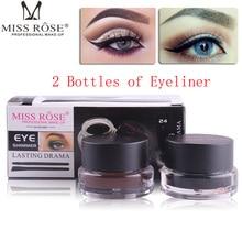 Miss Rose Brand Double color Eye Makeup Set Black Cake Eyeliner + Gel Kajal 24 Hours Stay Eye Liner Soft and Smooth Makeup