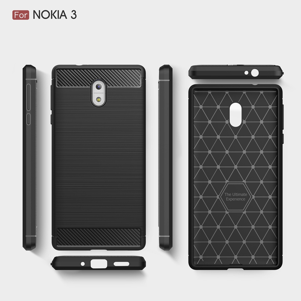 competitive price 51ca8 a4611 US $1.99 45% OFF|KEYSION Phone Case For Nokia 3 Environmental Carbon Fiber  Soft TPU Brushed Anti Skid Back Cover For NOKIA3 Phone Bags Shell 5.2