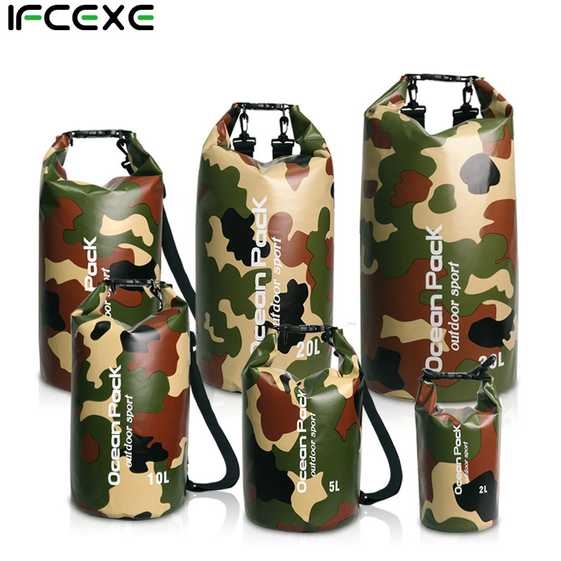 2-30l Outdoor Pvc Ipx6 Camouflage Waterproof Dry Bag Durable Diving Floating Camping Hiking Swimming Backpack Travel Sports Bags Aromatic Flavor