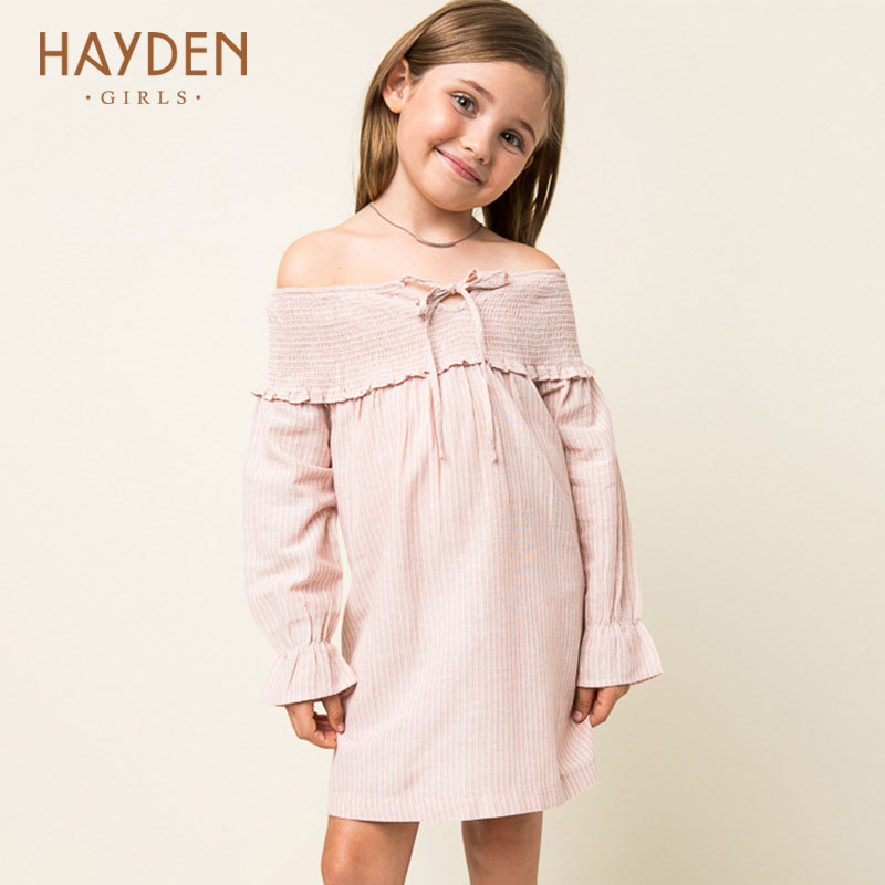 HAYDEN teenagers girls dress 2017 summer sundress 7 8 9 10 years off shoulder children party frocks 7 8Y clothing girls clothes