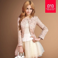 Autumn fashion brand lace stand collar short balzer slim and elegant female beautiful short jacket w1943 free shipping