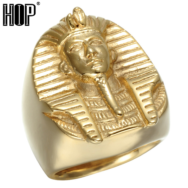 HIP Hop Gold Color Mysterious Egyptian Pharaoh Rings Rock Titanium Stainless Ste