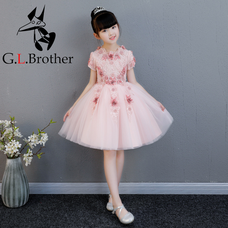 Toddler Kids Baby Girls Lace Dress Cute Princess Girls Dresses Kids Birthday Party Gowns Short Sleeve Flower Girl Dress AA273 lovely toddler kids baby girl summer dress bunny ear short sleeve hooded outfit one pieces princess children dresses sundress