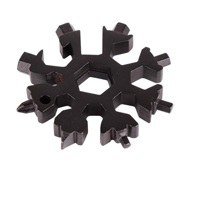 Mini 18 en 1 multi-outil en acier inoxydable en forme de neige tournevis à tête croisée plate clé Allen clé outil Portable porte-clés