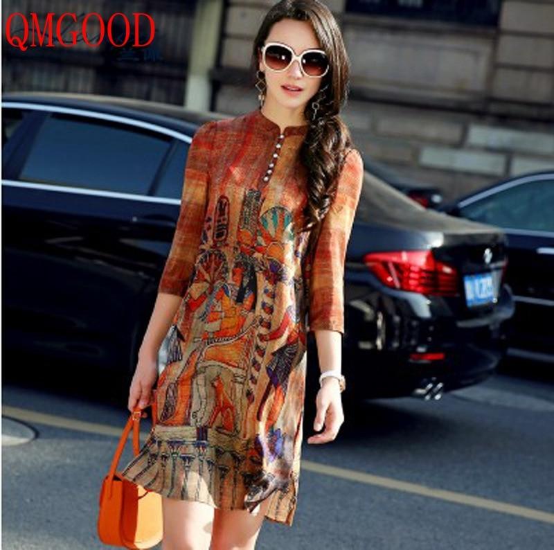 QMGOOD 2018 Fashion Retro Printing Silk Dress 3/4 Sleeve Elegant Ladies Summer Dress Vintage Straight Dress Moda Vestido M L XXL