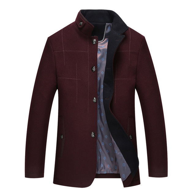 Male Wool Winter Coats Men's Wool Jackets and Coats Stand Collar Mens Single Breasted Coat Casual Warm Woolen Overcoat 168wy
