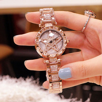 Fashion Ladies Watch Women Bracelet Watches Waterproof Stainless Steel Female Clock Quartz Rhinestone Wristwatch Gifts For Women