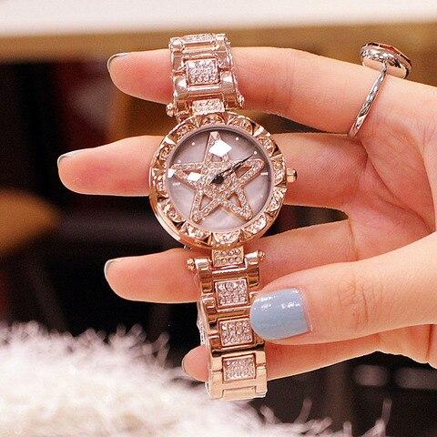 Senhoras da Forma do Relógio para Mulheres Pulseira de Relógio de Quartzo Relógio de Pulso de Aço Inoxidável à Prova Presentes para Mulheres Relógios Feminino Strass Água d'