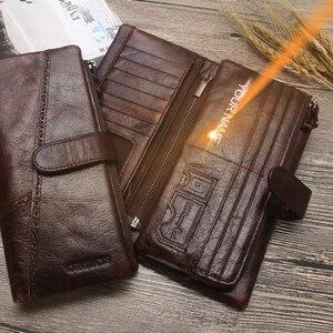 Image 5 - 2020 nowych mężczyzna portfele prawdziwej skóry wołowej długo odpinany zamek monety kiesy rocznika mężczyzna telefon sprzęgłowa torba z Whipstitch wykończenia