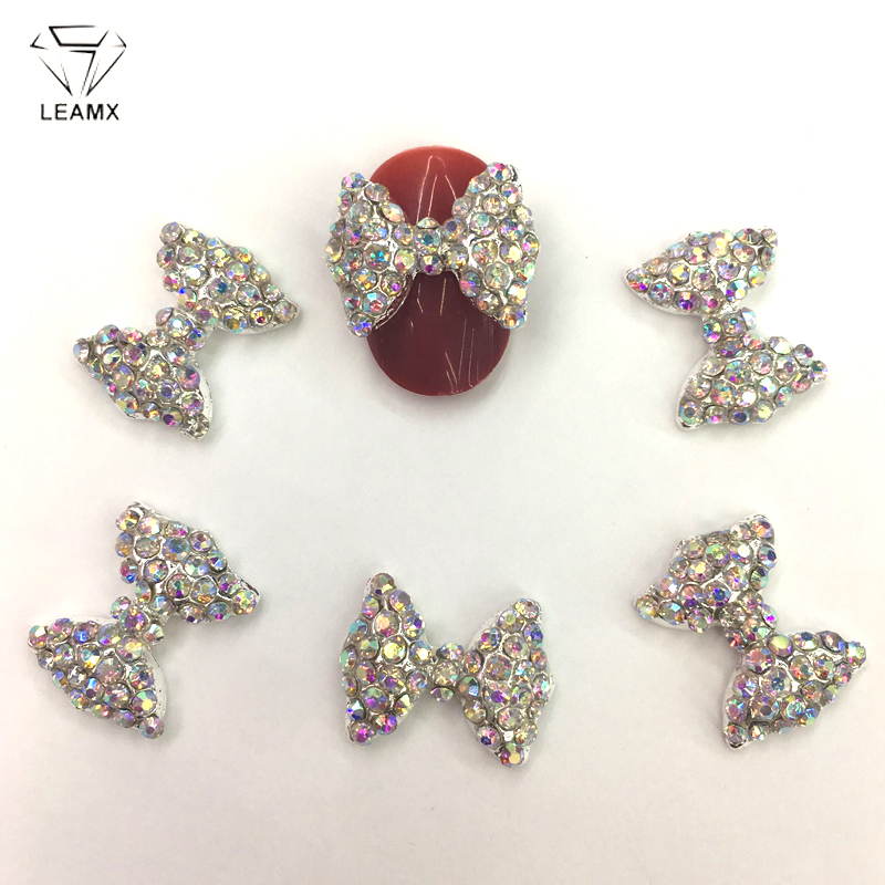 LEAMX 5 PCS/bag Bow Nails Art New 3D AB Rhinestones Crystal Bow Tie Alloy Nails Decorations Jewelry Accessories Manicure GemL405