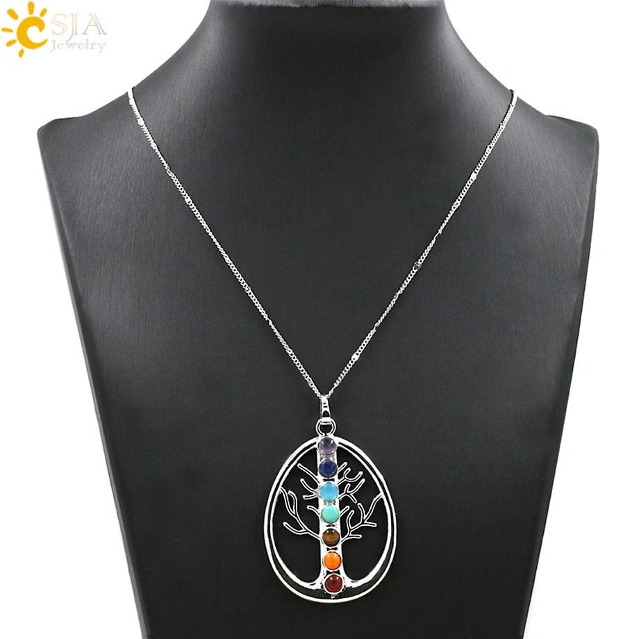 CSJA 2st Reiki Symboler Hälsa Amulett Trädliv 7 Chakra Stenar Hänge Halsband Chakra Träd Yoga Sten Uttalande Halsband E026