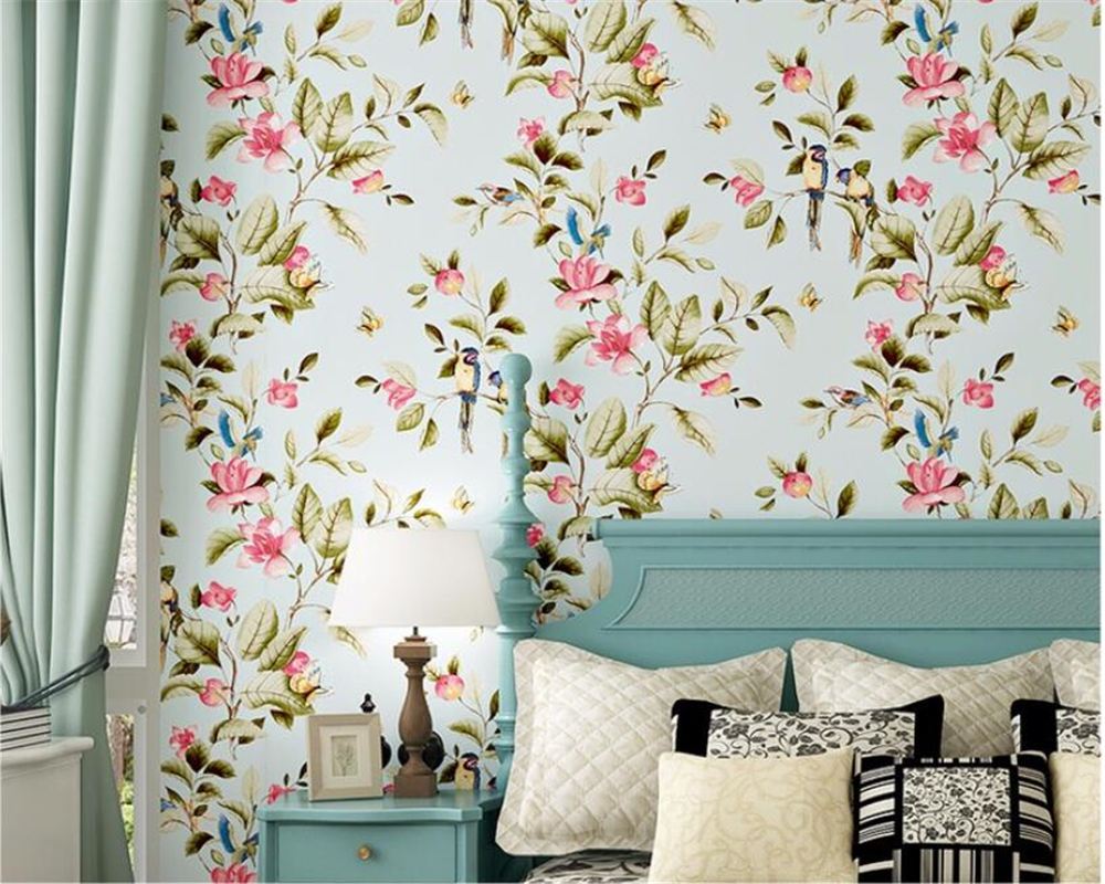 Beibehang Birds Trees Flowers Chinoiserie Wallpaper rolls Vintage flowers and birds wallpaper 3D wallpaper Roll papel de parede
