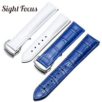 20mm 21mm Calfskin Watch Straps Leather for Omega Watch Aqua Terra Seamaster Speedmaster De Ville Wrist Leather Band Watch Belt