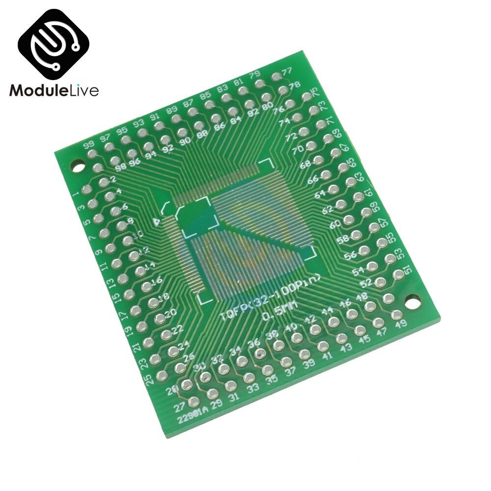 50pcs QFP//TQFP//LQFP//FQFP 32//44//64//80//100 to DIP Adapter PCB Board Converter
