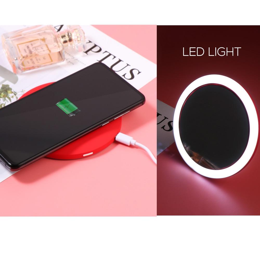 Image 5 - Espejo cosmético Circular LED portátil multifuncional con Base de carga inalámbrica USB herramientas de espejo de maquillaje para mujerEspejos para maquillaje   -