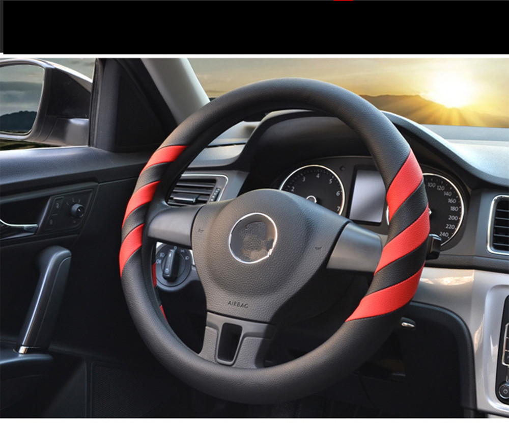 Universal 38cm micro fiber leather car steering wheel cover for ford focus bmw volkswagen toyota chevrolet