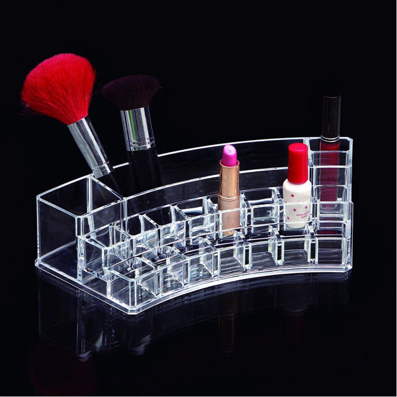 NC Clear Acrylic Cosmetic Make up Organizer Makeup Jewelry Lipstick Brush Nail polish Holder Storage Box de maquiagem Accessory