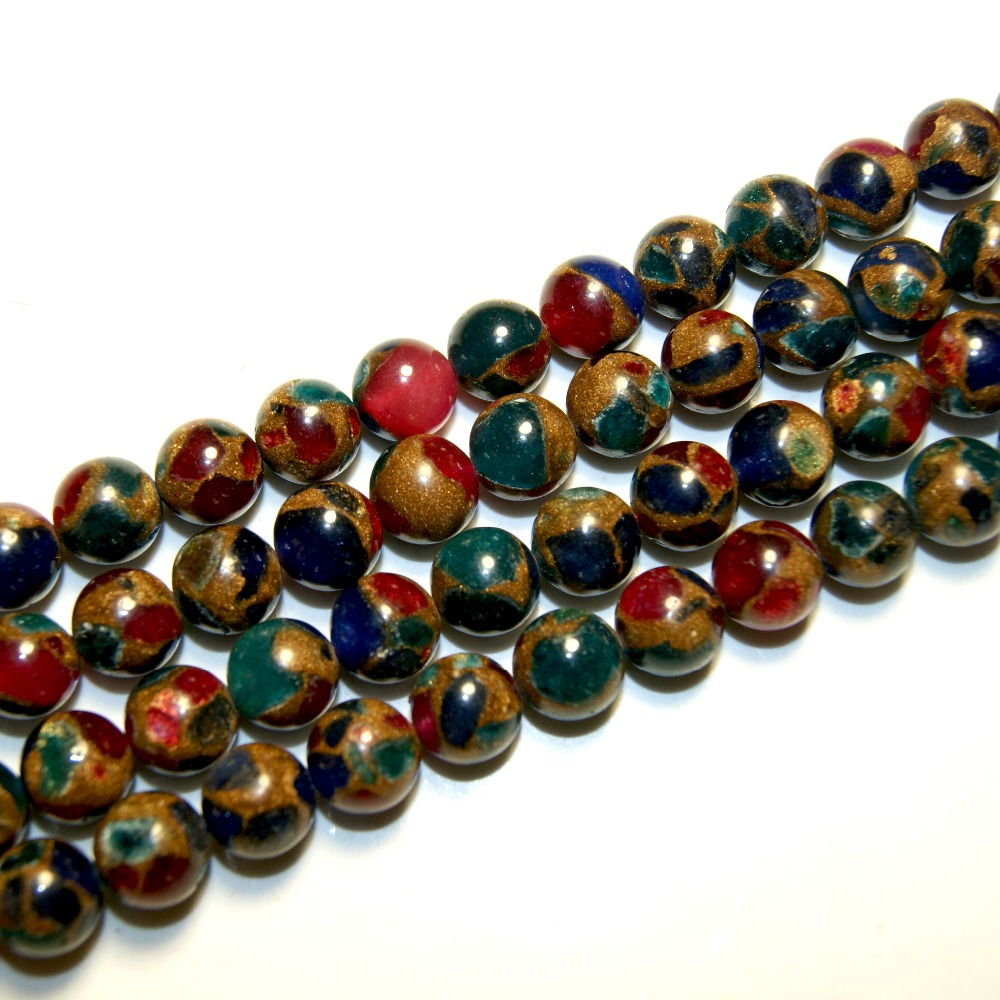 Natural Stone Beads : Wholesale charm natural stone beads color mixing gold