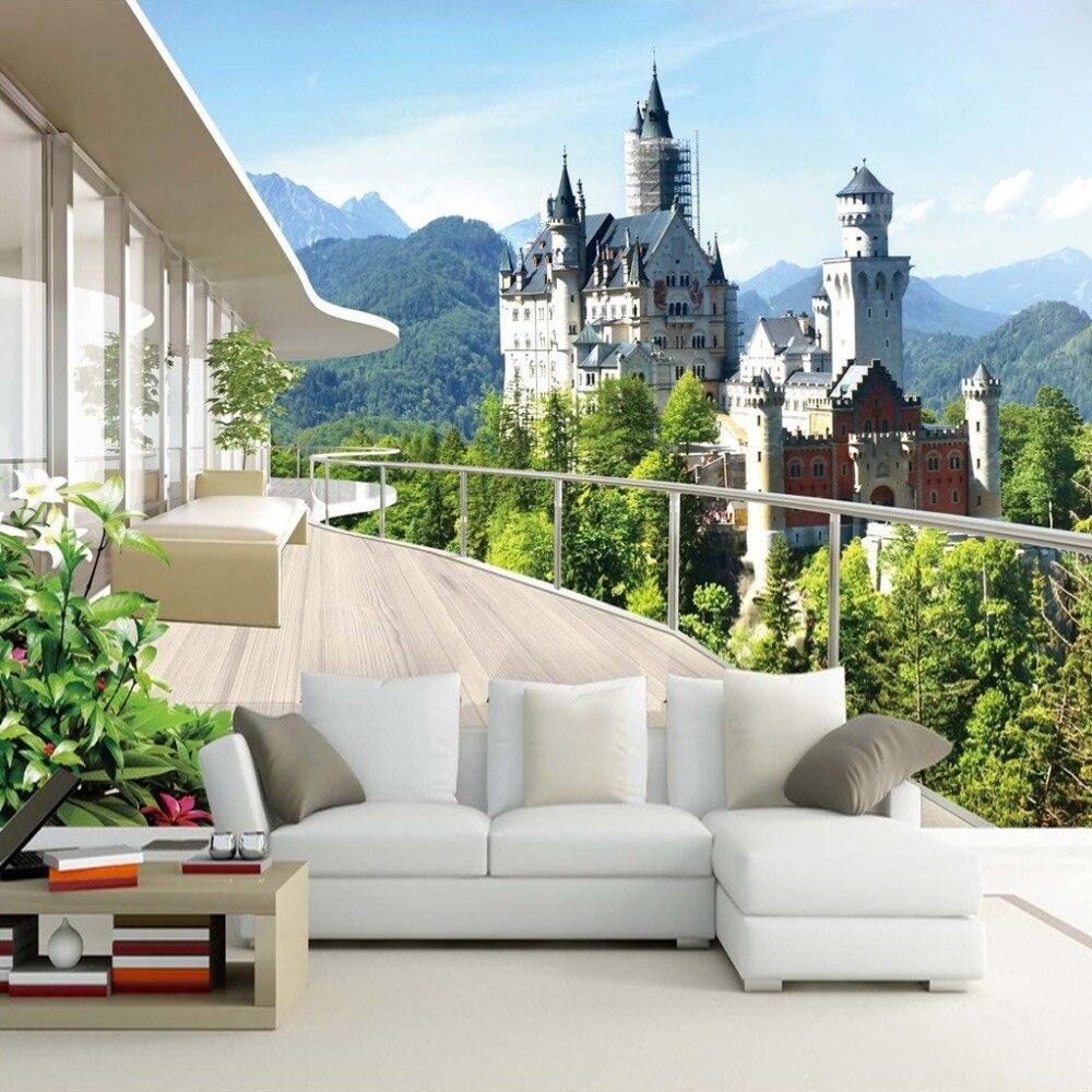 Custom Photo Wallpaper 3D Stereo Space Mural Living Room Sofa Bedroom Background Castle Landscape 3D Mural Wallpaper For Walls