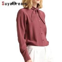 Women Silk SHIRT 19MM 100 Real Silk Long Sleeved Button Casual Top Shirt 2017 Fall Winter