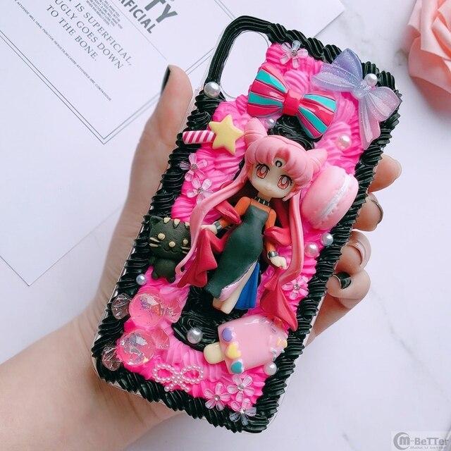 Pour Samsung S9/10 plus + étui bricolage note8/note9 3D marin lune couverture de téléphone Galaxy s8/s9 + s6/s7 bord à la main crémeux étui fille cadeaux