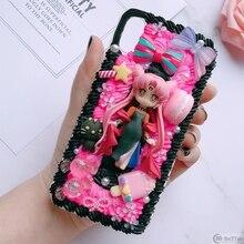 עבור Samsung S9/10 בתוספת + DIY מקרה note8/note9 3D סיילור מון טלפון כיסוי גלקסי s8/s9 + s6/s7 קצה בעבודת יד שמנת מקרה ילדה מתנות