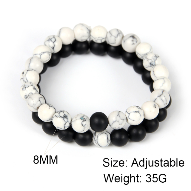 2Pcs/Set Couples Distance Bracelet Classic Natural Stone White and Black  1
