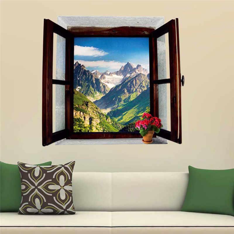 Jendela Terbuka Pemandangan Pegunungan 3D Stiker Dinding Removable Wallpaper Kreatif Jendela View Mural Decals untuk Dekorasi Rumah