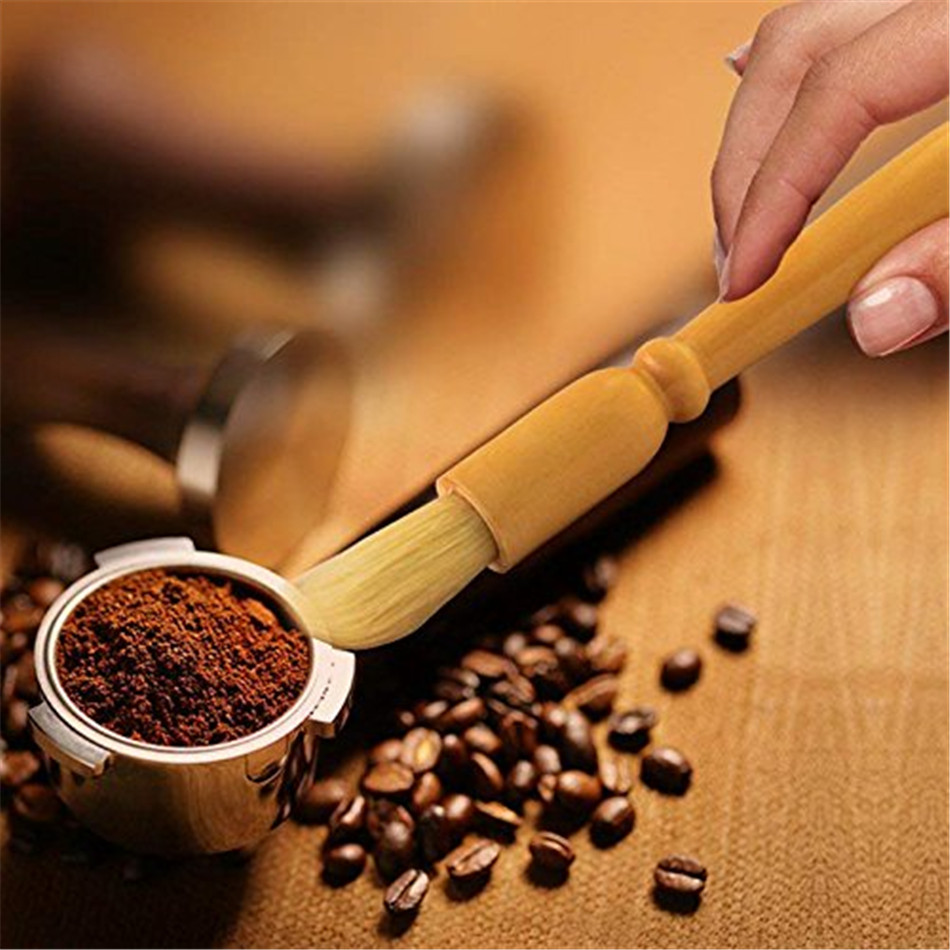 VOGVIGO Hot Sale 1pc Coffee Brush Coffee Grinder Machine Cleaning Brush Wood Handle Natural Bristles Wood Dusting Espresso Brush
