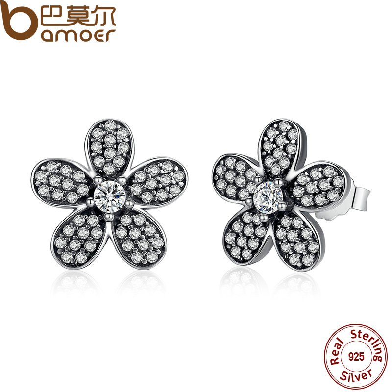 цены BAMOER Original 925 Sterling Silver Dazzling Daisy Flower Stud Earrings for Women Jewelry PAS434