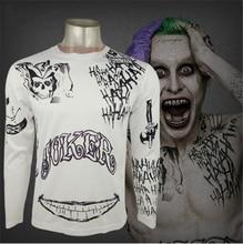 Отряд Самоубийц футболка Харли Квинн Джокер Дэдшот футболка татуировки Печать мужчин рубашка с длинными рукавами Бэтмен Косплэй Топ