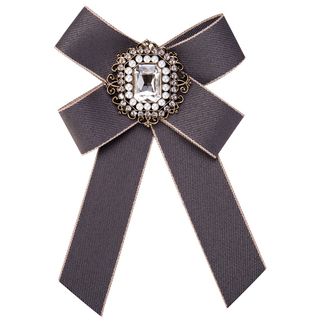 Vintage Women Brooch Big Ribbon Bowknot Shirt Dress Bow Tie Lace Collar Brooch Pins Accessories Fashion Crystal Corsage Jewelry