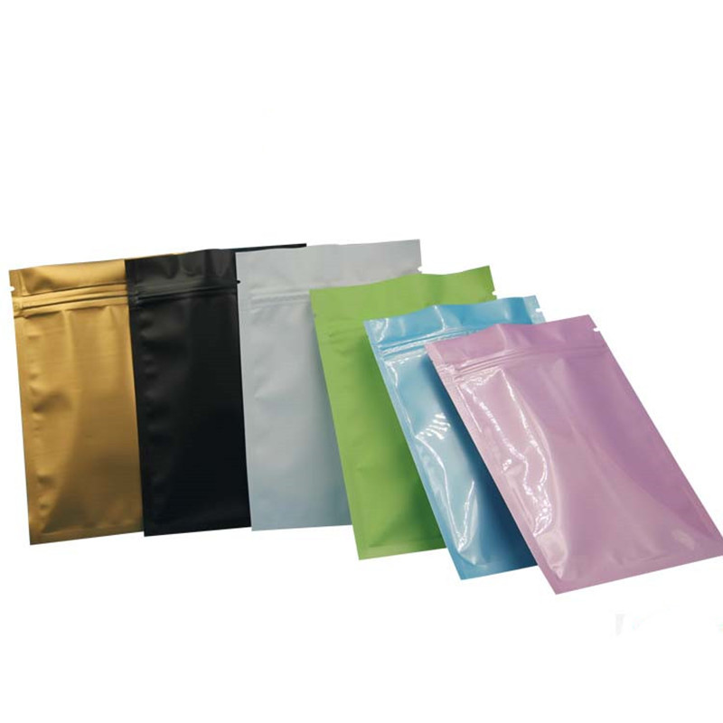 Pink Gold Green black color Metallic Mylar ziplock bags flat bottom Black Aluminum foil small zip
