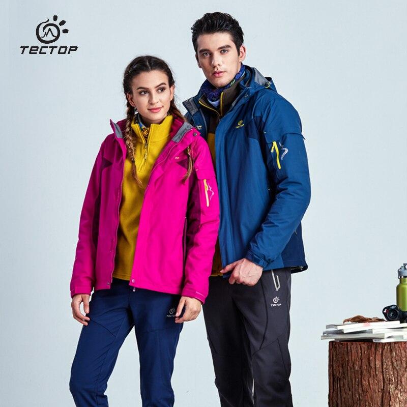 Tectop hiver extérieur hommes femmes veste shell + doublé deux pièces imperméable coupe-vent résistant à l'usure thermique garder au chaud randonnée