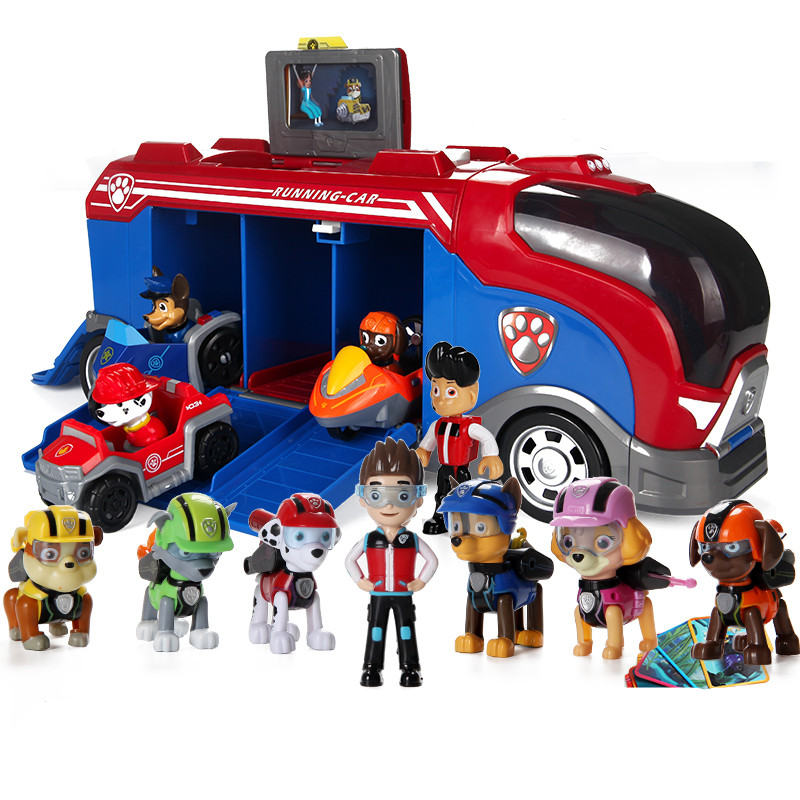 Paw Patrol dog Sliding team big truck toy music rescue team Toy Patrulla Canina Juguetes Action Figures toy gifts set