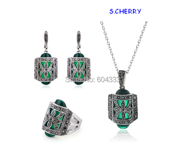 1Set =3pcsTop Exquisite Vintage Silver Plated Black Crystal Necklace Earrings Rings Fashion Jewelry Sets