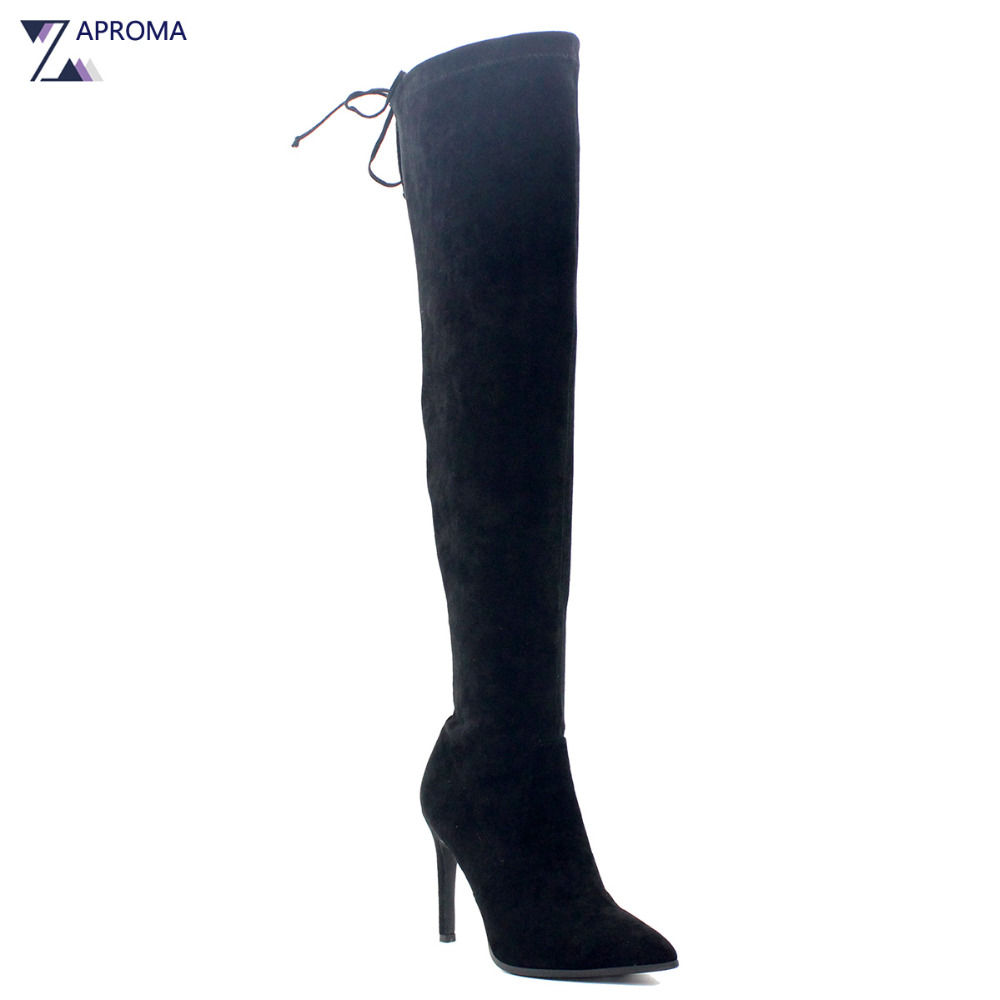 Basic Winter Spring Lace Up Black Suede Over the Knee Women Boots Square Chunky Super High Heel Short Plush Pointed Toe Shoes women kid suede lace up comfortable square heel knee high boots fashion pointed toe keep warm winter shoes black khaki