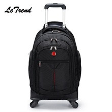 New Backpack Wheel Metal Trolley Bag Men Travel Multi-functi