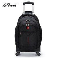 New Backpack Wheel Metal Trolley Bag Men Travel Multi function LuggageTrolley Men Bag Large Capacity Travel Bags Trip