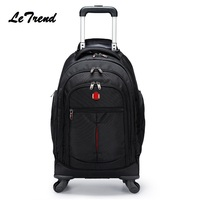 New Backpack Wheel Metal Trolley Bag Men Travel Multi function LuggageTrolley Men Bag Large Capacity Travel Bags Trip