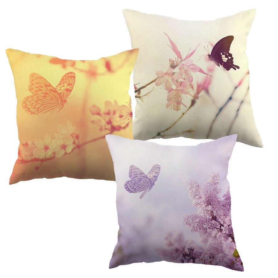 Élégant papillon avec branche d'arbre imprimé Liene coton housse de coussin Design coloré taie d'oreiller motif pour voiture maison canapé