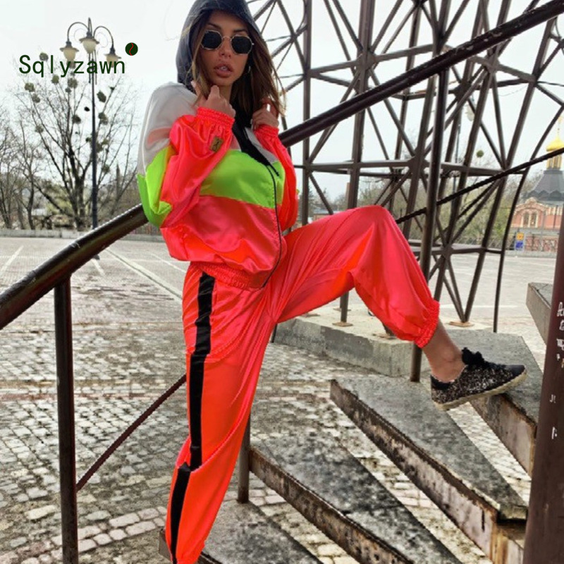 Neon Patchwork Sportwear Women Two Piece Outfits Hooded Long Sleeve Jacket Top + Pants Streetwear Tracksuit Women Matching Sets