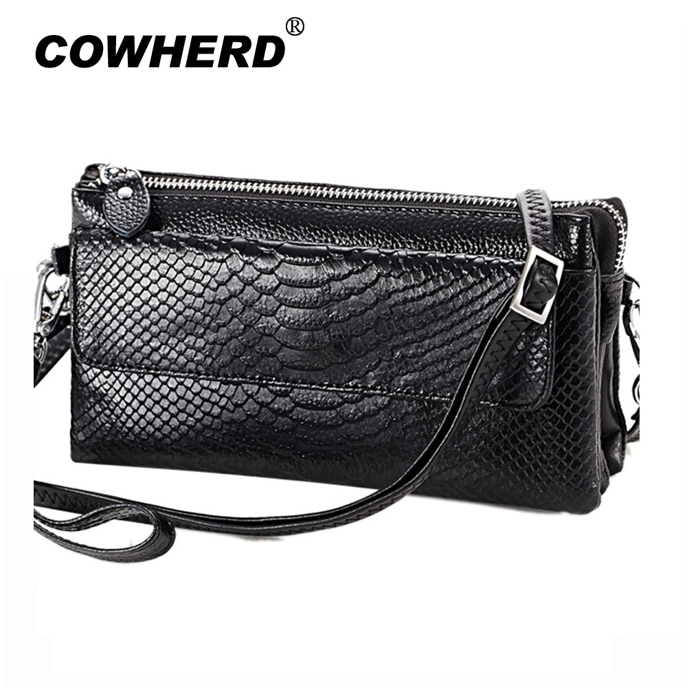 4ff5f6416dc3 US $12.76 42% OFF|2019 Hot Women Clutch Bag Serpentine Prints Genuine Cow  Leather Wallets Fashion Wristlet Change Phone Purse Handbag 712-in Clutches  ...