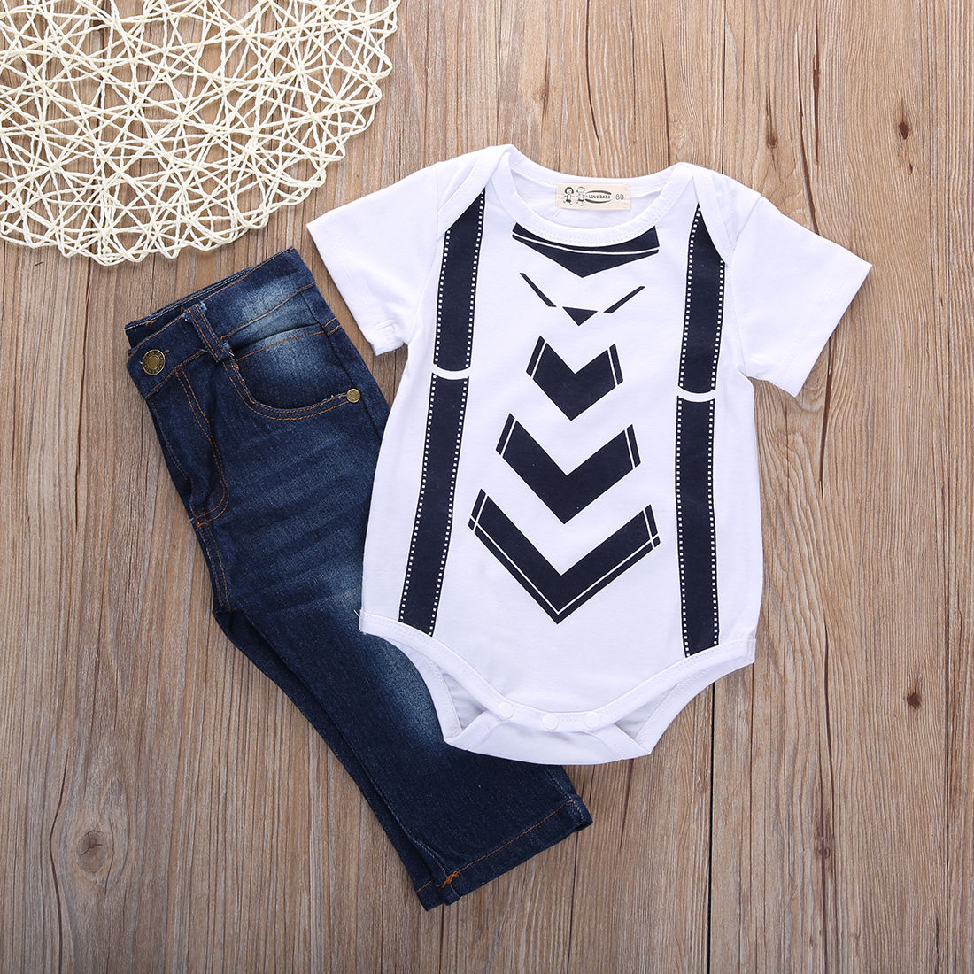 Infant Baby Boy Girl Kids Jeans Clothes Summer T-shirt Tops+Pants Outfit Costume