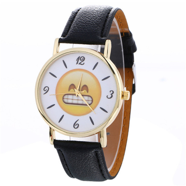 2018 New Women Watches Cute Emoji Fashion Casual Quartz Watch Female Clock PU Le