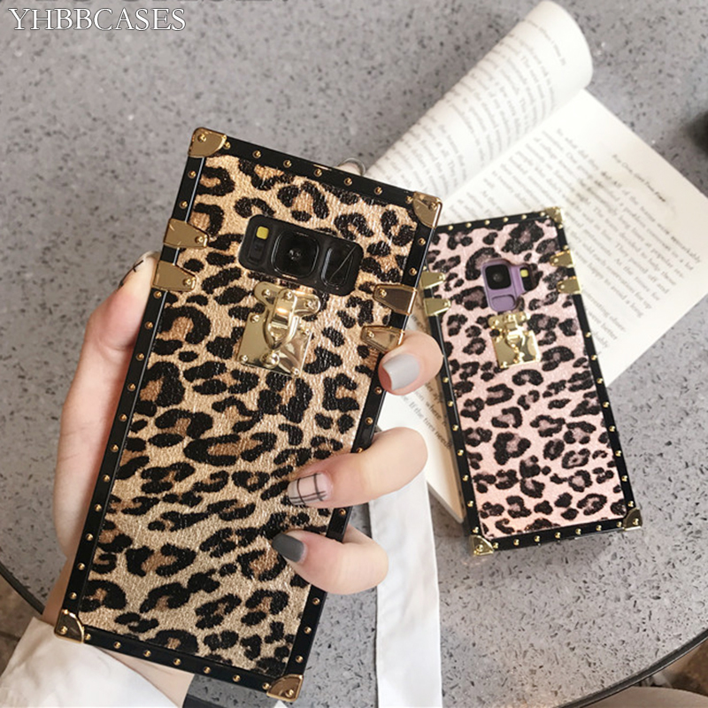 YHBBCASES Fashion Gold Rivet Square Cover For Samsung Galaxy S10 <font><b>S8</b></font> S9 Plus Retro <font><b>Sexy</b></font> Leopard <font><b>Cases</b></font> For Samsung Note 10 8 9 image